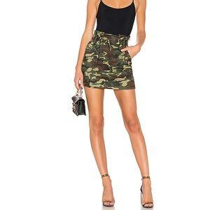 Lovers + Friends Celina camo mini skirt bow tie